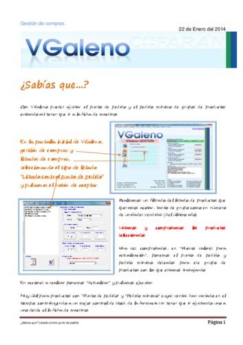 Listado control de punto de pedido - Visual Galeno